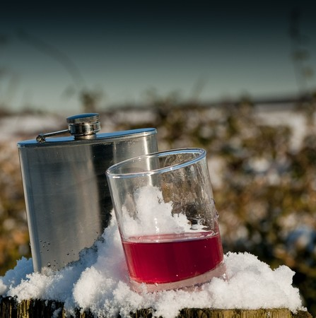 hip flask: hip flask and glass of slow gin in snow Stock Photo