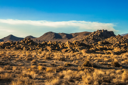 Desert of the Alabama Hills in summer, California. Stock Photo