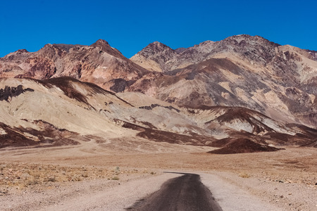 A narrow road called the Artist Drive in the Death Valley National Park (California) Stock Photo
