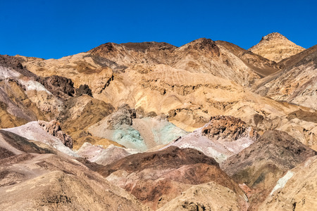 Geological formation of the Artists palette in the Death Valley National Park, California, summer. Stock Photo