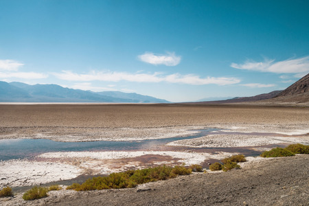 Badwater basin on a late afternoon, Death Valley National Park (California). Stock Photo