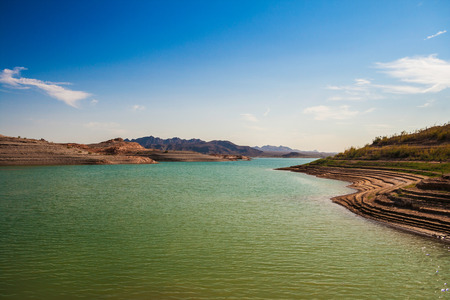 Bay of the Lake Mead National Recreation Area (Nevada) during a sunny afternoon - summer 2007. Stock Photo