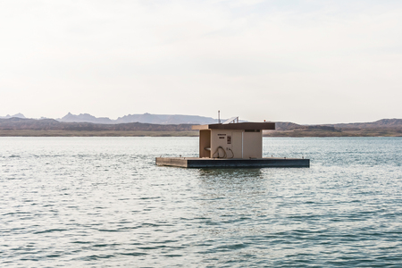 Boat pump-out station on Lake Mead National Recreation Area, Nevada. Stock Photo
