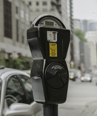 Close-up of a parking meter. Stock Photo