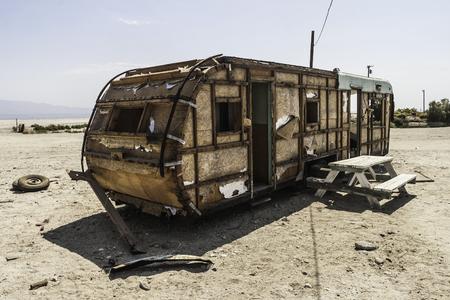 A torn and abandoned trailer in Salton Sea Beach, California - summer 2007.