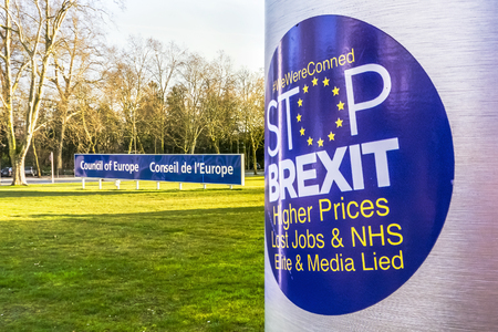Anti-Brexit sticker on the UK flag at the Council of Europe in Strasbourg, France.