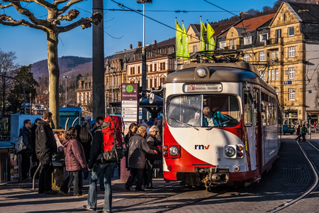 Stopped cable car with people in Heidelberg, Germany