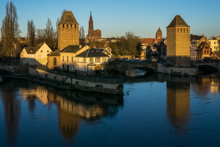 Cityscape of the old medieval town of Strasbourg with the cathedral Our Lady in the background, France.