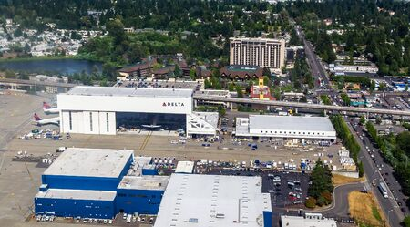 Aerial view of the Delta Airlines Hangar located at the SeaTac Airport. Editorial
