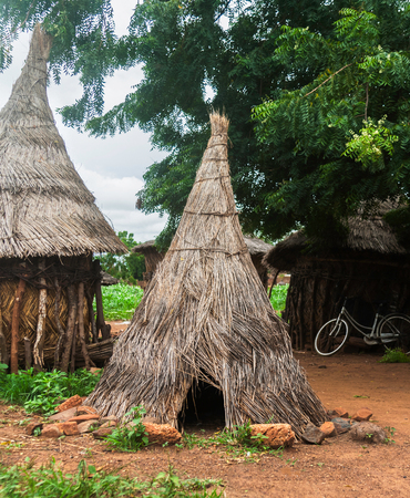 Traditional henhouse made of straw in a village of south Burkina Faso (West Africa) - vertical