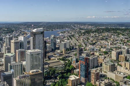 Aerial view or overlook of downtown Seattle, Capitol Hill and Lake Union in the distance, Washington state, USA.