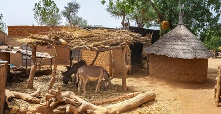 Cortile di una casa tradizionale o residenza in un villaggio mosi del nord del Burkina Faso, Africa occidentale.