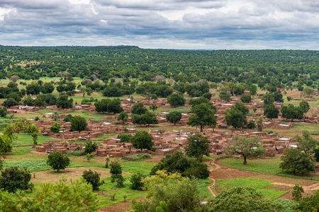 Overlooking view of Nabou, a gurunsi village in Southwest Burkina Faso during the rainy season (july-september), West Africa.