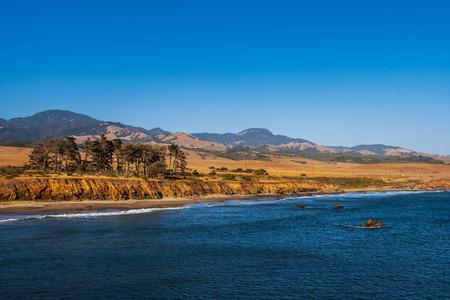 Pacific Coast landscape or scenery on late afternoon along California Highway 1, near Santa Barbara, summer, USA.
