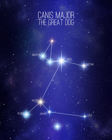 Canis Major the great dog constellation on a starry space background with the names of its main stars. Relative sizes and different color shades based on the spectral star type.