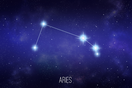 Aries zodiac constellation on a starry space background with lettering Stock Photo