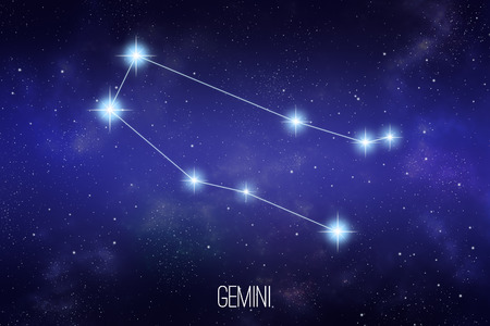 Gemini zodiac constellation on a starry space background with lettering Stock Photo