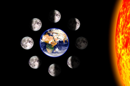 Moon or lunar phases poster. Eight steps of the lunar cycle around the Earth. Black background. 3d render illustration with no text. Stock fotó