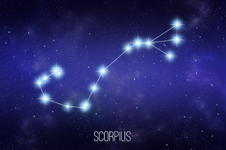 Scorpius zodiac constellation on a starry space background with lettering