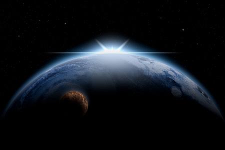 Gigantesco pianeta di ghiaccio con esplosioni di luce nella sua parte superiore e nella sua luna. Illustrazione di fantascienza. Opere d'arte originali, visione dell'artista.
