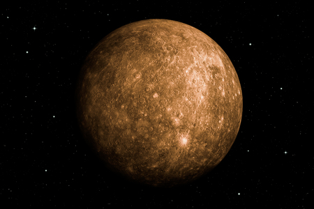 3d rendering of Mercury planet with deep space background.