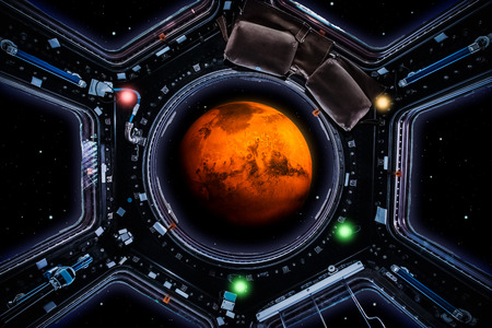Travel to mars. Planet Mars 3d render seen through spaceship windows. Space exploration and mission concept artwork. Artist vision.