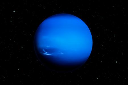 3d rendering of Neptune planet with deep space background. Banco de Imagens