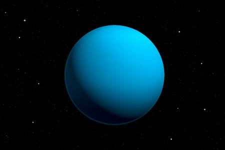 3d rendering of Uranus planet with deep space background. Space illustration. Banco de Imagens