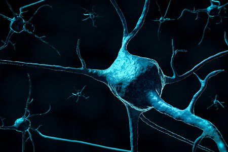 3d render of a neuron or nerve cell close-up on a dark background with copy space. Science and biology illustration concept. Stock Photo