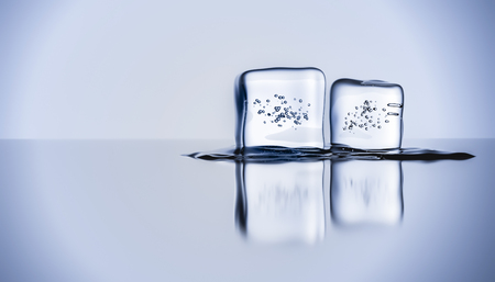 Two melting ice cubes with bubbles reflecting on a glossy surface .Studio shot-like. 3d render illustration with copy space