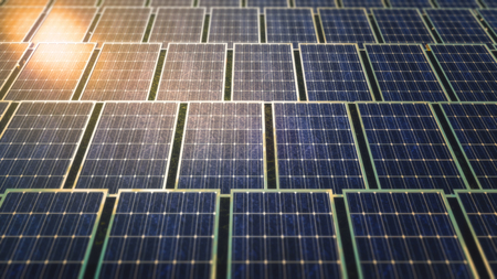 Aerial view of a solar panels field with sun flare. Green energy 3D rendering illustration.
