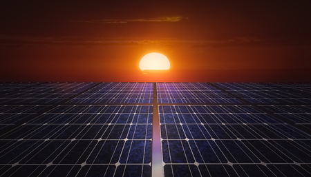 Solar panels field at sunrise or sunset. Mixed media illustration.