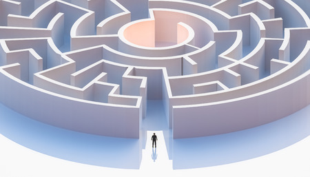 Man in suit standing in front of a circular or concentric maze entrance. Aerial. Abstract and conceptual 3d render illustration.