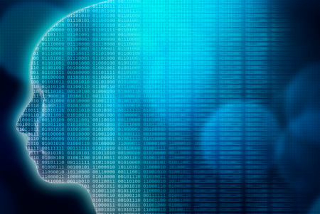 Artificial or Machine intelligence or AI illustration. 3d render human head profile filled with binary code. Transhumanism, advanced and futuristic technology, IT or computer science conceptual background, wallpaper or backdrop. Stock Photo