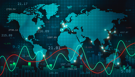 Stock foreign exchange or forex illustration with the world map, infographics and numbers. International finance, trade and economy concept. 스톡 콘텐츠