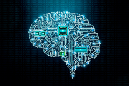 Human electronic brain printed circuit board or pcb design with components and cpu on binary code background. Transhumanism, artificial or machine intelligence or AI, Science, computer science or IT, advanced technology conceptual illustration.