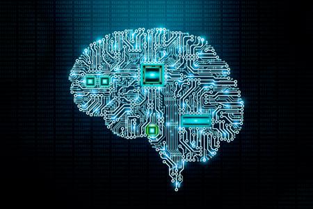 Progettazione di circuiti stampati o circuiti stampati del cervello umano umano con componenti e CPU su sfondo di codice binario. Transumanesimo, intelligenza artificiale o meccanica o AI, scienza, informatica o IT, illustrazione concettuale di tecnologia avanzata.