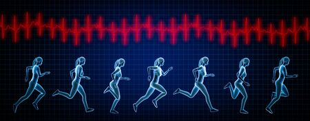 Sportswoman running sequence movements and heartbeat ekg curve. 3d rendering illustration. Sport, fitness, health, human biomechanics, medical, heart rate concepts. Standard-Bild - 138035060