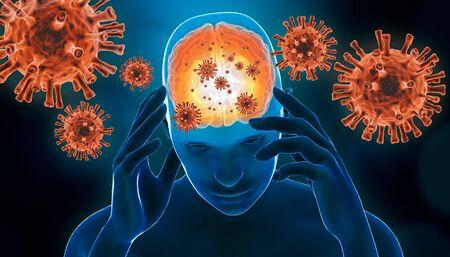 Brain viral infection 3D rendering illustration. Brain inflammation with red generic virus cells. Neurological diseases like encephalitis, meningitis, Alzheimer's, Parkinson's, narcolepsy or sclerosis concepts. Stock Photo