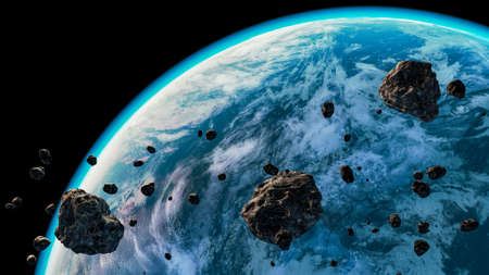 Blue planet or exoplanet with atmosphere and clouds and asteroids in the foreground. Spacescape artist concept 3D rendering illustration. Foto de archivo