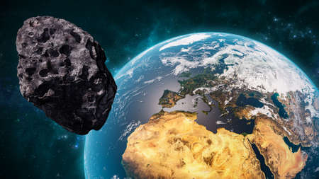Giant asteroid cruising near Planet Earth scenery or spacescape. Outer space landscape and astronomy 3D rendering illustration. Foto de archivo