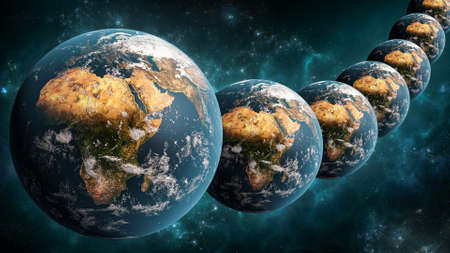 Alignment or array of many Earth planet in outer space scenery 3D rendering illustration. Multiverse or parallel universes concept.