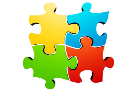 Connected colorful jigsaw puzzle parts or pieces isolated on a white background. Teamwork, team building, solidarity, synergy, collaboration, solution concepts. 3d rendering illustration.