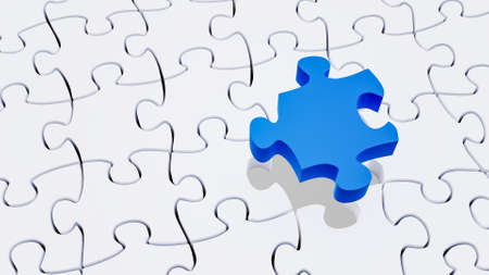 Missing blue piece completing a white jigsaw puzzle. Riddle, solution, IQ concepts. Horizontal 3D rendering illustration with copy space.