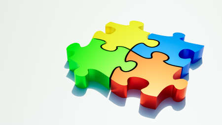 Red, green, blue and yellow jigsaw puzzle pieces on white background with copy space. Teamwork or team building, riddle, solution, collaboration and synergy concepts. 3d rendering illustration. Stock Photo