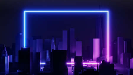 Retro futuristic cityscape abstract background 3D rendering illustration. Vaporwave, retrowave or synthwave style with blue and purple rectangle frame neon light.