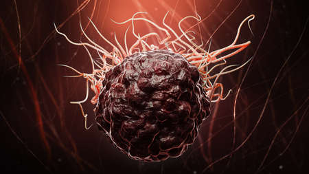 Cancer or tumor cell close-up 3D rendering illustration. Carcinoma, lymphoma, oncology, medicine, science, microbiology, cancerous pathology, health concepts.