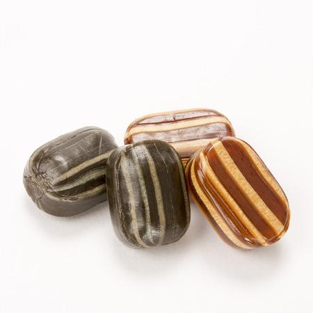 humbug: Mint humbugs hard candy isolated on a white background Stock Photo