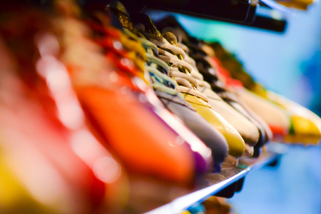 Variety stock colourfull Shoes in a shop