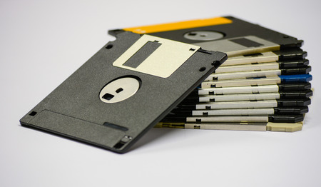 Floppy disk magnetic computer on a white background Stock Photo